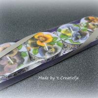 Theelichten groot (4) Kleurige violetjes