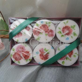Theelichten klein (6) Mini roosjes Rosalie