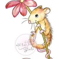 Wild Rose Studio - Stamp - Mouse & flower