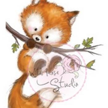 Wild Rose Studio - Stamp - Fox on branch