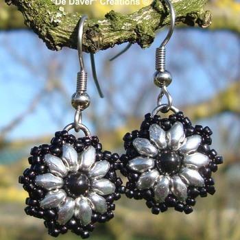 Oorbellen Mylana - Zilver/zwart