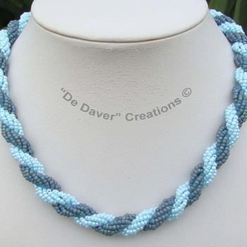 Collier Double spiral - Blue turquoise