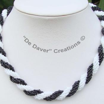 Collier Double spiral - Zwart/wit