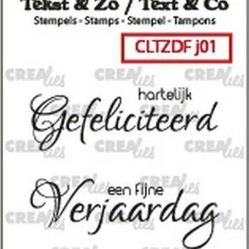 Crealies Clearstamp Tekst & zo - Jarig nr1