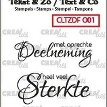 Crealies Clearstamp Tekst & zo - Overlijden nr1