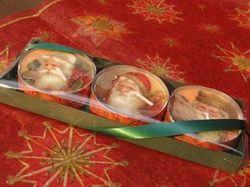 Theelichten groot (3) vintage kerstmannen