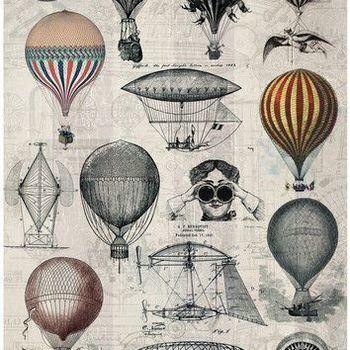 Cadence - Rijstpapier - Vintage luchtbalonnen