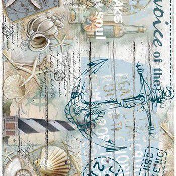 Cadence - Rijstpapier - Vintage anker & schelpen
