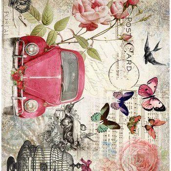 Cadence - Rijstpapier - VW kever rozen