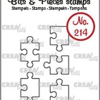 Crealies Clearstamp Bits & Pieces (214) - puzzelstukjes omlijning