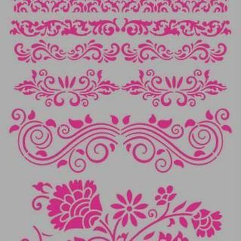 Pronty Mask stencil - Barok borders