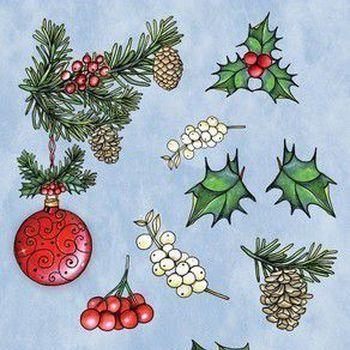 *CraftEmotions - GB Dimensional stamp - Kerstbal met takjes & besjes