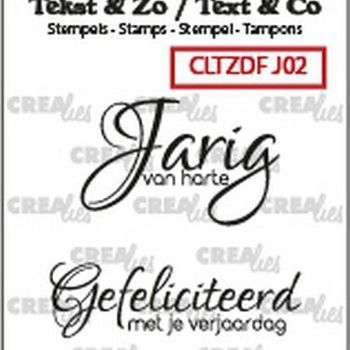 Crealies Clearstamp Tekst & zo - Jarig nr 2
