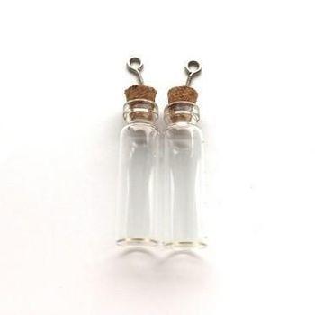 Mini glazen flesjes met kurk & schroef (2304)