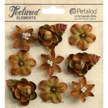 Petaloo - Mixed texture mini blossoms - mocha