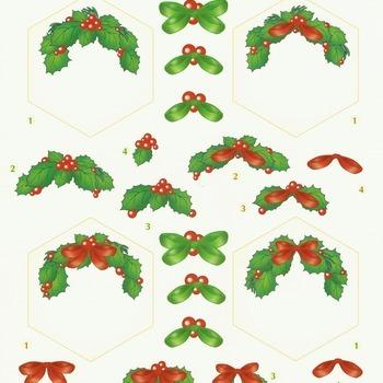 Kerst 2 hulst zeshoek - knipvel