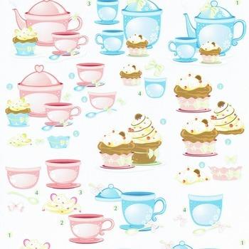 Tea & cupcake blue/rose - knipvel