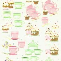 Tea & cupcake green/rose - knipvel