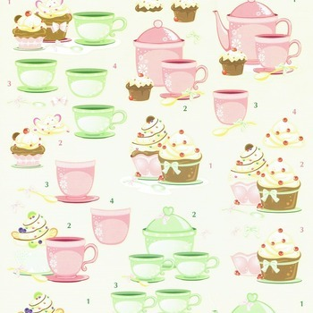 Tea & cupcake green/rose - knipvel