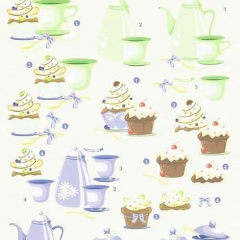 Tea & cupcake green/violet - knipvel