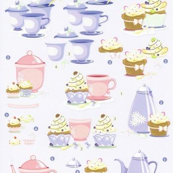 Tea & cupcake violet/rose - knipvel