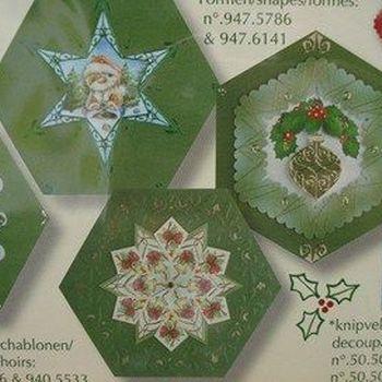 kaarten zeshoek kerstgroen