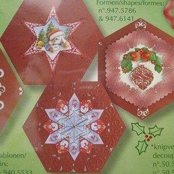 kaarten zeshoek kerstrood