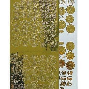sticker cijfers mirror goud