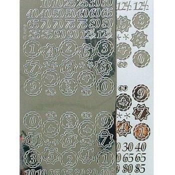 sticker cijfers mirror zilver