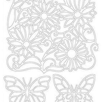 vlinders & bloemen - zwart