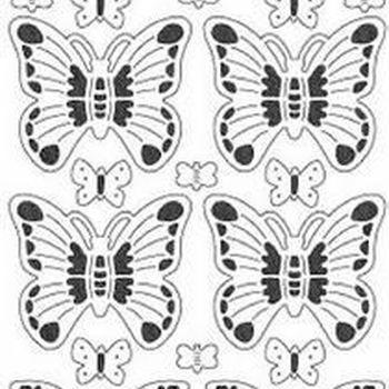 vlinders transparant glitter - zilver
